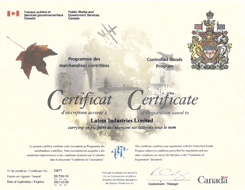 Latem's Controlled Goods Certificate